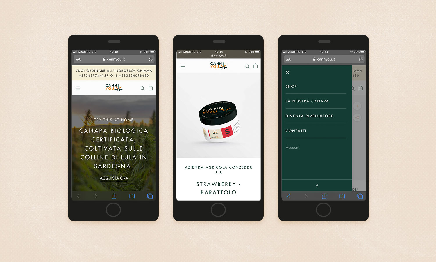 Cannyou ecommerce versione mobile